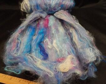 Roving Batt Made From Suri Alpaca Fleece, Hand Dyed Colors, Mauve, Blue, Cream, 2.6 Ounces