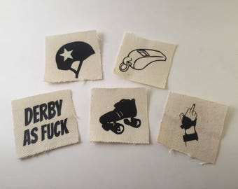 Sew on canvas Roller Derby Patches for roller girls, skaters, and gifts