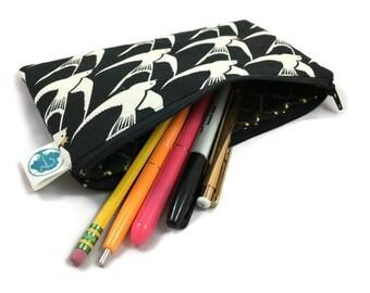 Pencil Pouch, Makeup Bag, Zipper Pouch in Sparrow