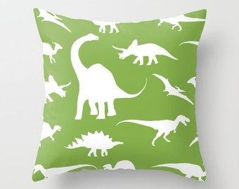 Dinosaurs Pillow Cover - Dinosaurs Decor - Green Pillow Cover - Boy Bedroom Decor - Dinosaur Cushion Cover - Accent Pillow