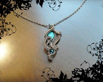 Green Spring Necklace/copper wire woven pendant/malachite and swarovski/Nicole Hanna design/Statement necklace