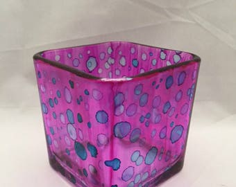 Painted Glass Candle Holder (Polka Dots)