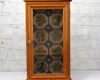 Vintage Wooden small Medicine Cabinet Apothecary wall cabinet Plastic Door