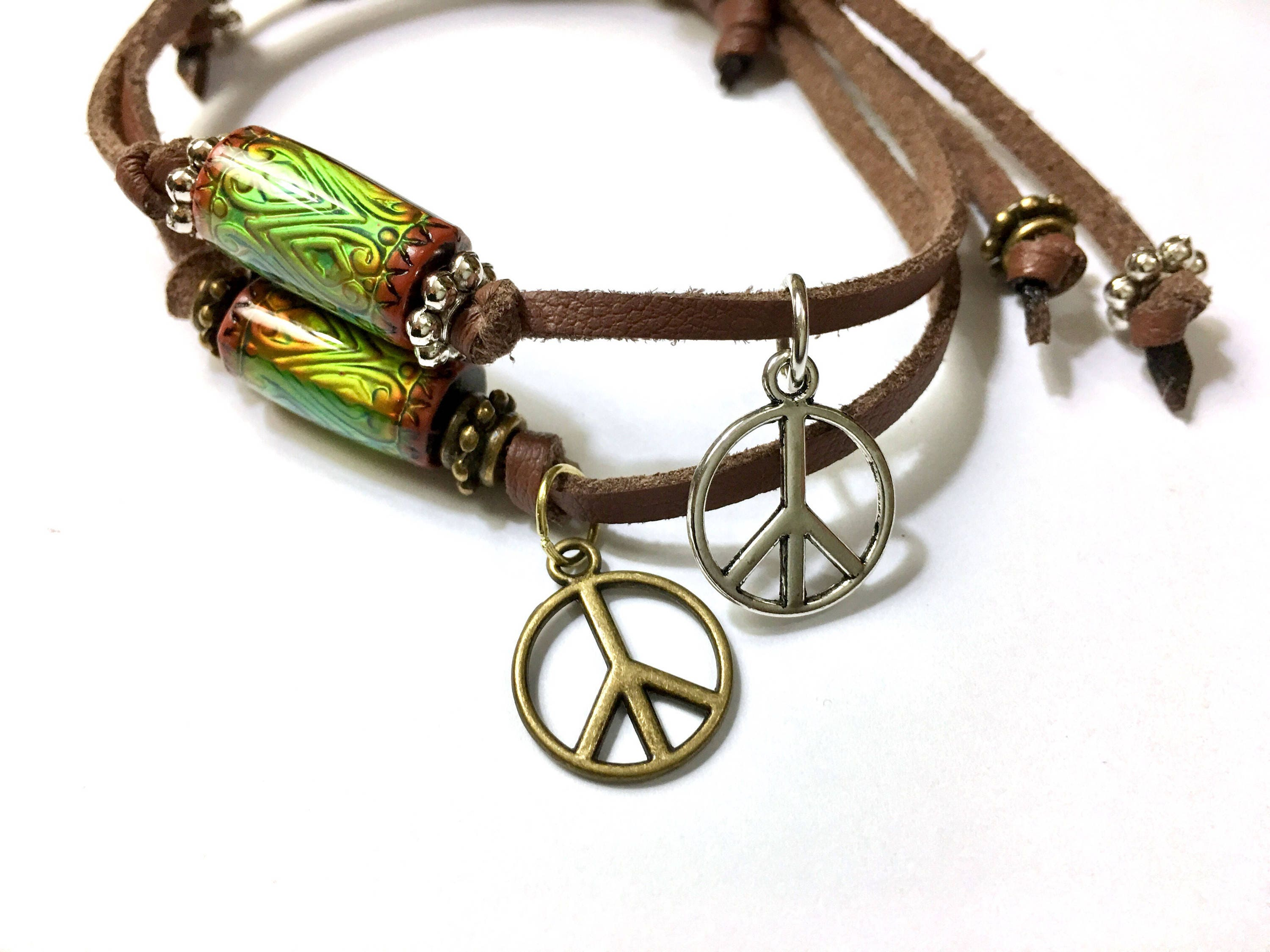 rainbow wooden bracelet peace sign s us claire beaded