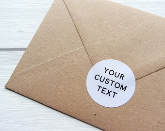 24 Custom Text Stickers Round Circle Personalized Envelope Seals Labels 40mm / White Kraft / 269