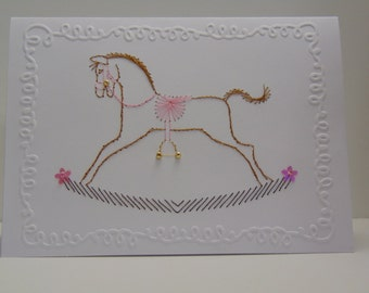 Baby Girl Rocking Horse Baby Card