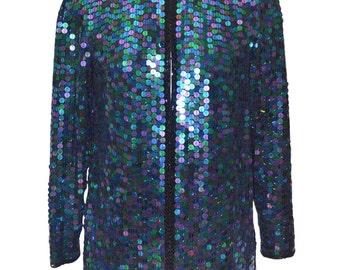 Vintage Estate Couture AUTHENTIC Oleg Cassini Sequin Blazer Jacket