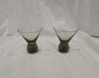 Cordial Glasses, Brandy Sippers, Smoked Glass To Clear, Weighted Bases, Set of Two, 1970's
