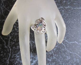 Alpaca Sterling Abalone and Filigree Ring Size 10 1/2