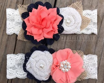 Coral and Navy Rustic Garter Set, Coral Navy Garter Set, Rustic Garter Set, Burlap Garter Set
