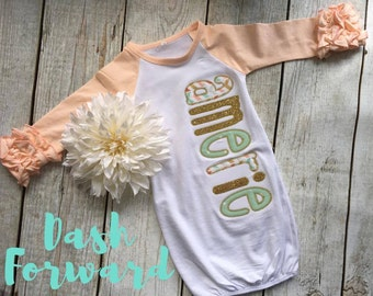 Monogrammed Peach Ruffle Gown, Newborn, 0-3Months, Glitter, Baby shower, Personalized