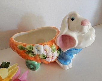 White Rabbit Figurine Whimsical Easter Bunny with Carrot Cart Candy Dish or Flower Basket Vintage 1990's Ceramic Easter Decor