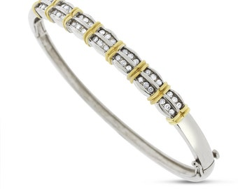 0.98 Ct. Natural Diamond Classy Bangle In Solid 14k Two Tone Gold