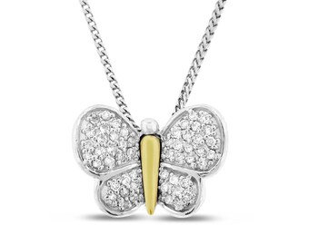 0.50 Ct. Natural Diamond Butterfly Pendant In Solid 14k White/Yellow Gold