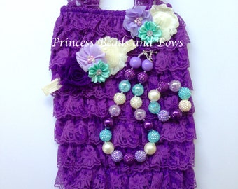 Purple Lace Petti Romper,  Floral Headband and Chunky Necklace, Purple, Ivory & Mint Lace Romper Set, Baby Girl, Photo Prop Cake Smash