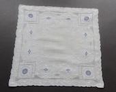 Vintage Swiss Bridal Wedding Hankie Handkerchief White Linen with Blue Hand Embroidery