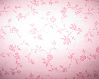 100 percent cotton fabric/pink with darker pink flowers and vines/quilting/crafts/apparel