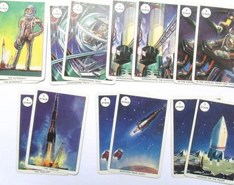 Illustrated space game cards: pack of 16 vintage cards featuring rockets, astronauts. Ephemera for mixed media, collage, art journals OT547