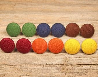 Fall fabric covered button earrings, autumn earring set, fall earring set, button clip on earrings, red earrings, orange earrings