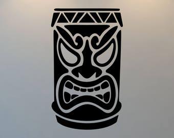 Tiki God Wall Decal, Tropical, Beach, Hawaii, Free Shipping