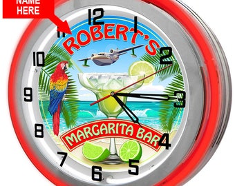 Personalized Margarita Bar Double Neon Clock