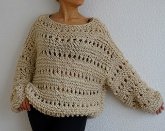 loose knit sweater, oversized sweater, slouchy sweater, bulky knit, bohemain sweater, knit over size, knit pullover, knitwear, made to order