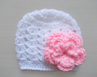 Baby girl hat White baby hat White hospital hat Newborn girl hat Baby girl beanie Newborn crochet hat Baby beanie Spring baby hat