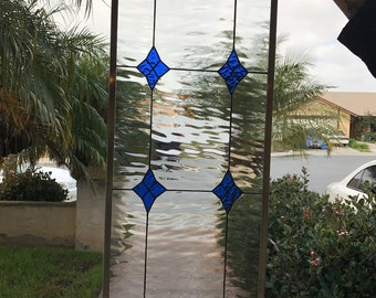 "The ""Lancaster"" Blue Clear Diamond Stained & Beveled Glass Window Panel"