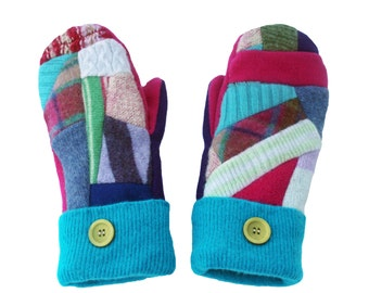 SWEATY MITTS -  Patchwork Mittens, Wool and Cashmere Sweater Mittens Pink Purple Turquoise Handmade Designer Fleece Lined Gift Warm Colorful