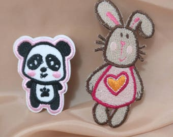 Wholesale lot  Panda  Heart   Easter Bunny  embroidered   iron  on patch  DIY