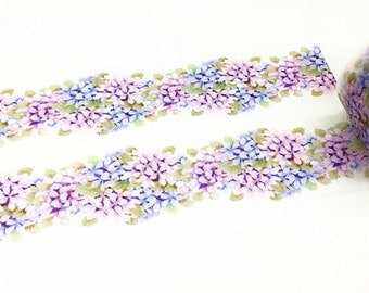 Hydrangea Washi Tape, Flower Vine Washi Tape, Purple Flower Washi Tape