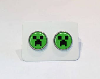 Stainless Stud Earrings Minecraft Creeper Face
