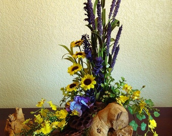 Forest Inspired Floral Arrangement in Handmade Wood Container