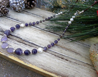 Purplicious! Amethyst and Freshwater Pearl Beaded Necklace