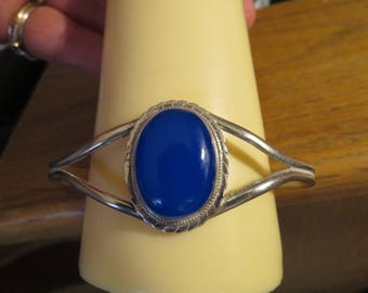 Vintage Gorgeous 925 Sterling Silver Blue Chalcedony  Filigree Cuff Bracelet, 6 1/2 Inches Around, 19.8 Grams
