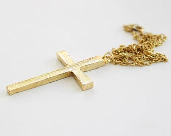 Simple Gold Cross Pendant w/ Long Chain Necklace // Gold Plated// Made in the UK // 22 Inch Long Chain // Easter Gift Idea
