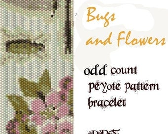 peyote pattern bracelet odd count bugs and flowers instant download pdf