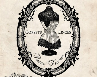 Water Decal Print transfer to furniture, wood or paper – Vintage French Advert: Corset Emily #003
