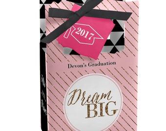 Graduation Favor Boxes - Personalized Graduation Party Supplies - Graduation Treat Boxes - Set of 12 Dream Big Favor Boxes