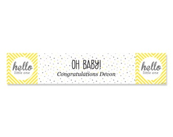 Hello Little One - Yellow and Gray - Custom Banner for Gender Neutral Baby Shower Party Decorations