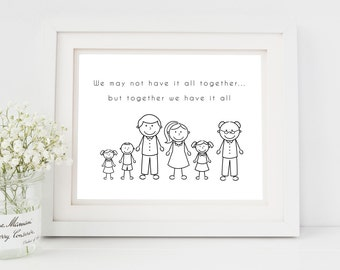 Personalised Family Print, Family Portrait, Personalised Family Picture, personalised family print, stick figure portrait, PRINT ONLY