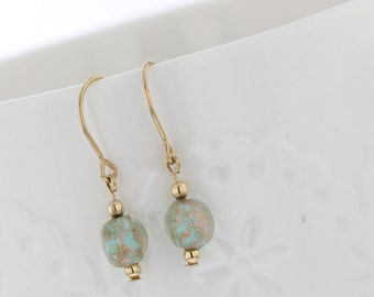 14kt Gold Filled Seafoam Bead With Gold Swirl Dangle Earring, Gold Swirls, Seafoam Bead, Seafoam Earring, Dangle Earring , Gold Earring