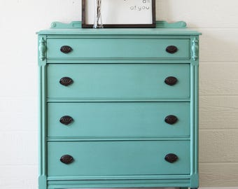 SOLD Antique Teal Highboy Dresser, Stained Dipped Legs, Refinished Painted  Dresser, Statement Piece