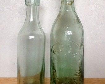 Two Antique Aqua Glass Bottles. Large Heavy Glass Soda Stream/Kinmond & Co. Bottles.