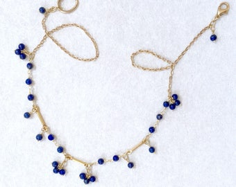 Lapis Lazuli Necklace, Dainty Necklace, Blue Necklace, Unique Necklace, Boho Jewelry, Beaded Necklace, Gemstone Necklace, Delicate Necklace
