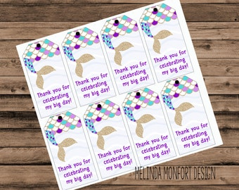Party Favor Tags, Mermaid Party Favors, Mermaid birthday printables, Mermaid Party, Party Supplies, Printables, DIGITAL FILE ONLY
