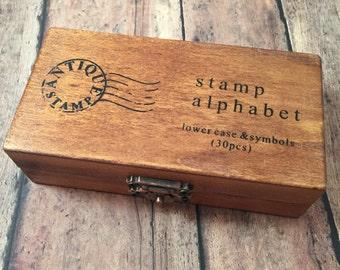 Lower case rubber stamp alphabet & symbols - rubber stamp set, alphabet stamps, scrapbook findings, letter stamp set, DIY craft supplies