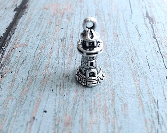 6 Lighthouse charms 3D antique silver tone - silver lighthouse pendants, marine charms, nautical charms, Maine charms, beach charm, V2