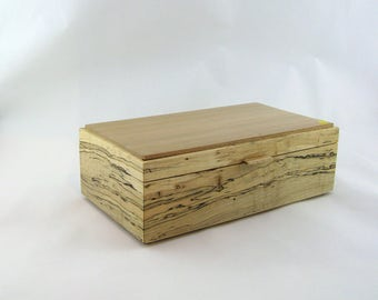 Jewelry box in spalted maple wood  12 X 6 3/4 x 4.Top is made from cherry with vertical grain ( quarter cut )