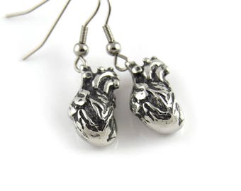 Anatomical Heart Charm Earrings Human Anatomy Jewelry